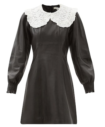 Loretta Broderie-Anglaise Collar Leather Dress