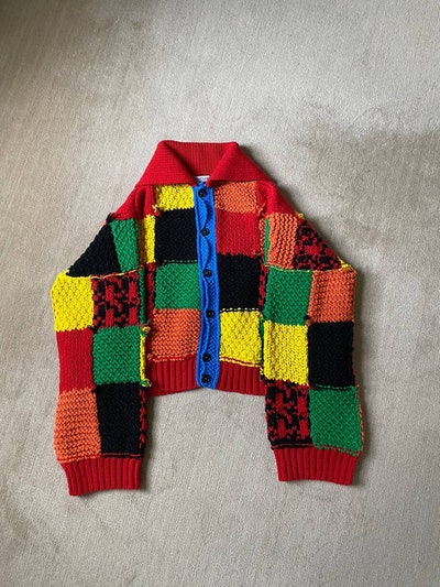 JW Anderson SS20 Runway Hand Knit Oversized Patchwork Cardigan