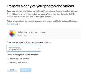 Apple now allows iCloud users to transfer their photos and videos to Google Photos.