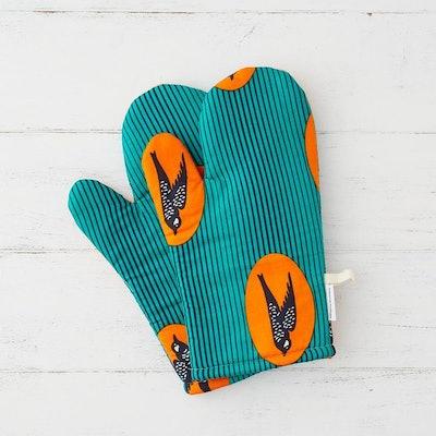 Oven mitts - Turquoise speed bird