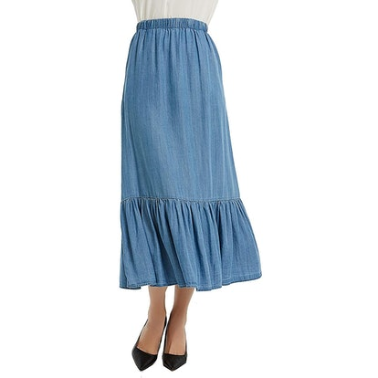 Tronjori Tencel Denim Long Skirt