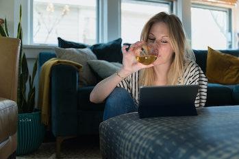 woman drinking alcohol, wine