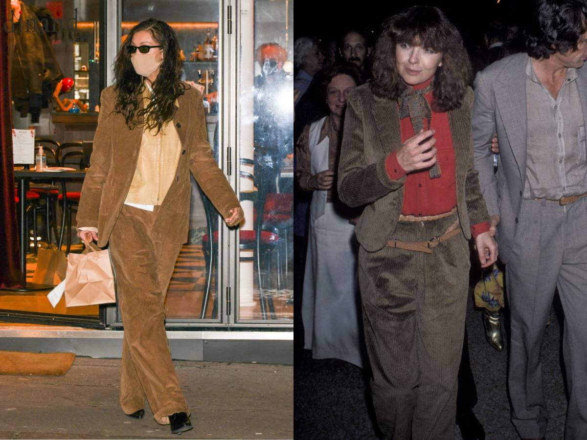 Bella and Diane Keaton in courdery suits