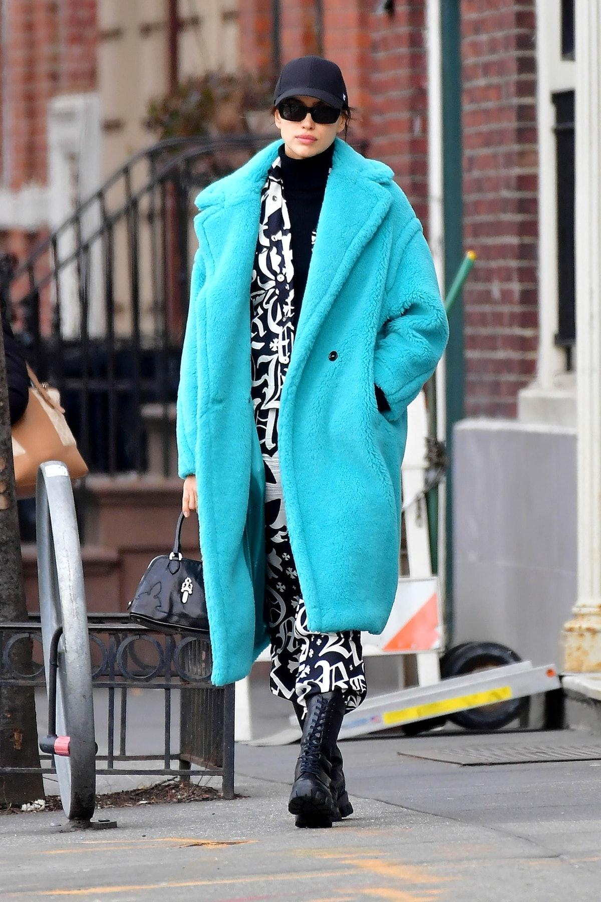 Irina Shayk wearing Max Mara coat in New York City.
