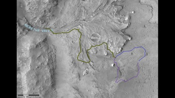 An orbital map of Mars.