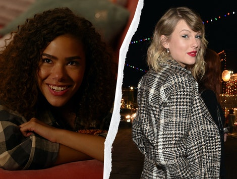 Antonia Gentry of 'Ginny & Georgia' and Taylor Swift. Images via Netflix and Getty
