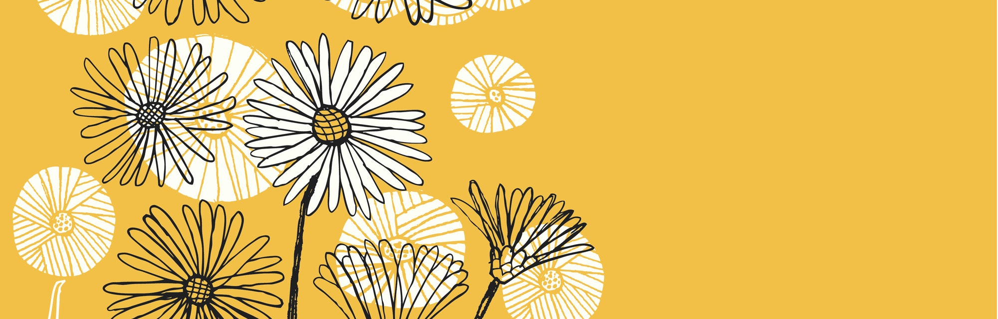 An illustration of bees around flowers.