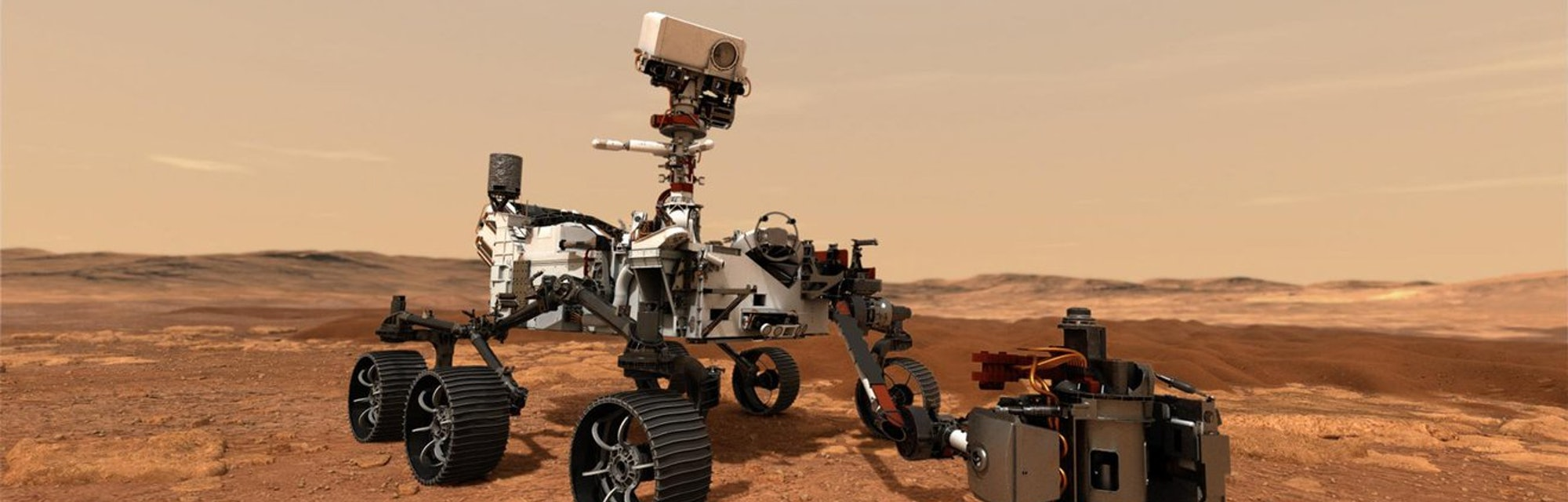 An illustration of the Perseverance rover on Mars.
