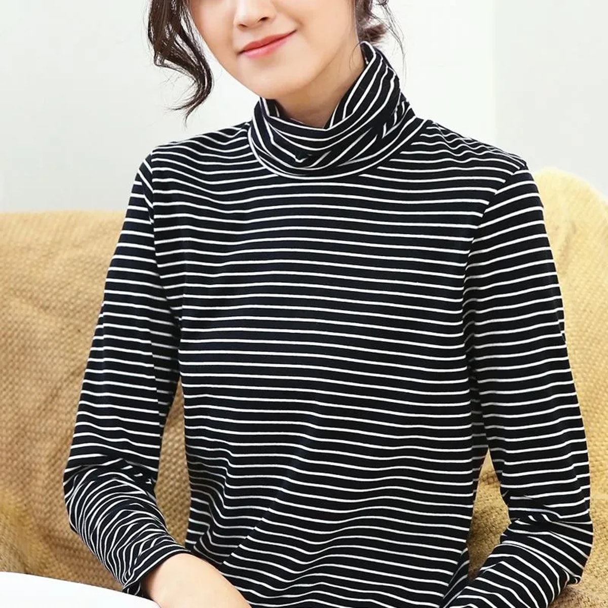 Mooreshow - Striped Turtleneck Long-Sleeve T-Shirt
