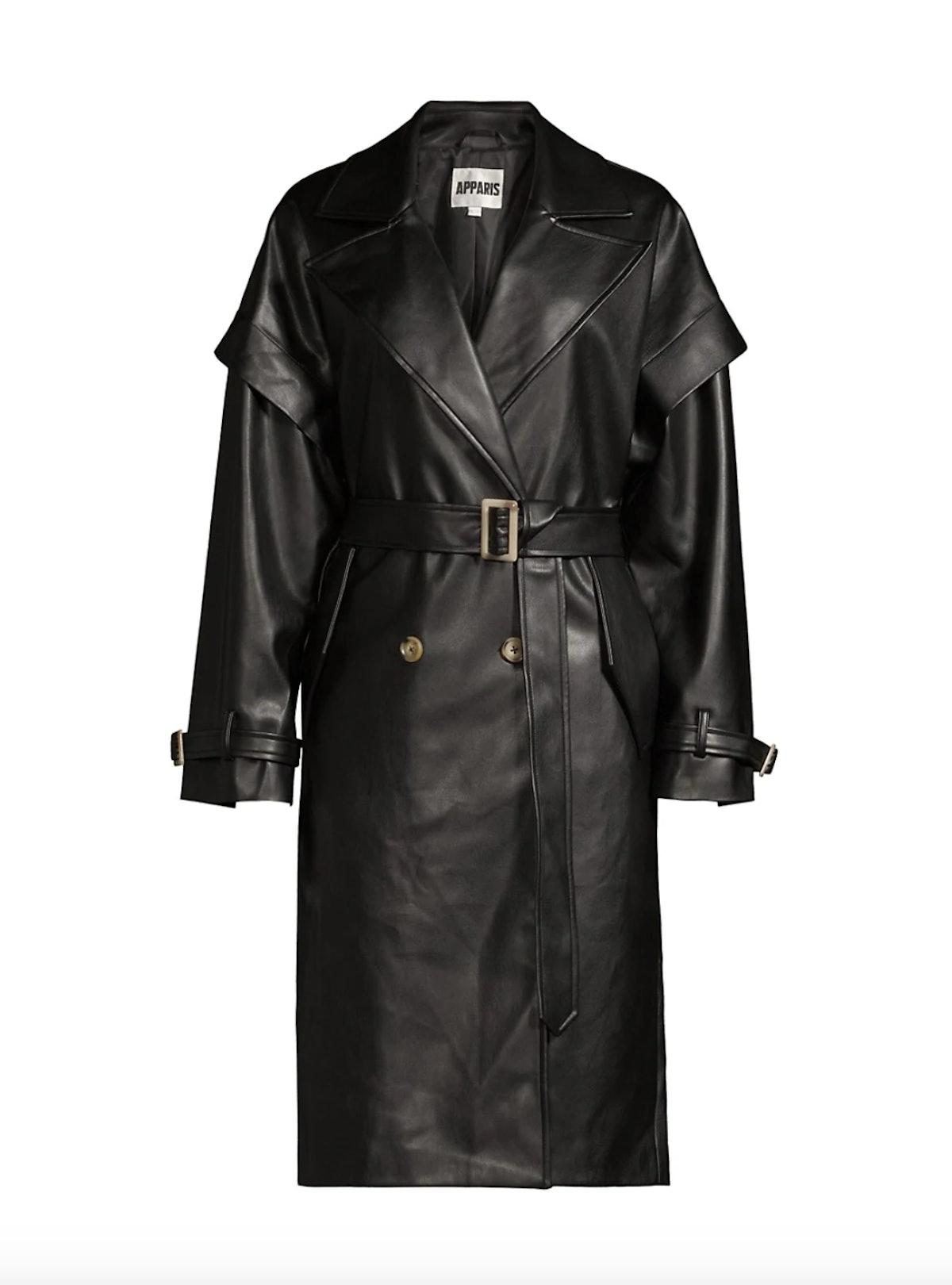 Natalia Leather-Look Trench Coat