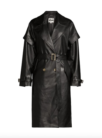 Natalia Leather-Look Trench Coat