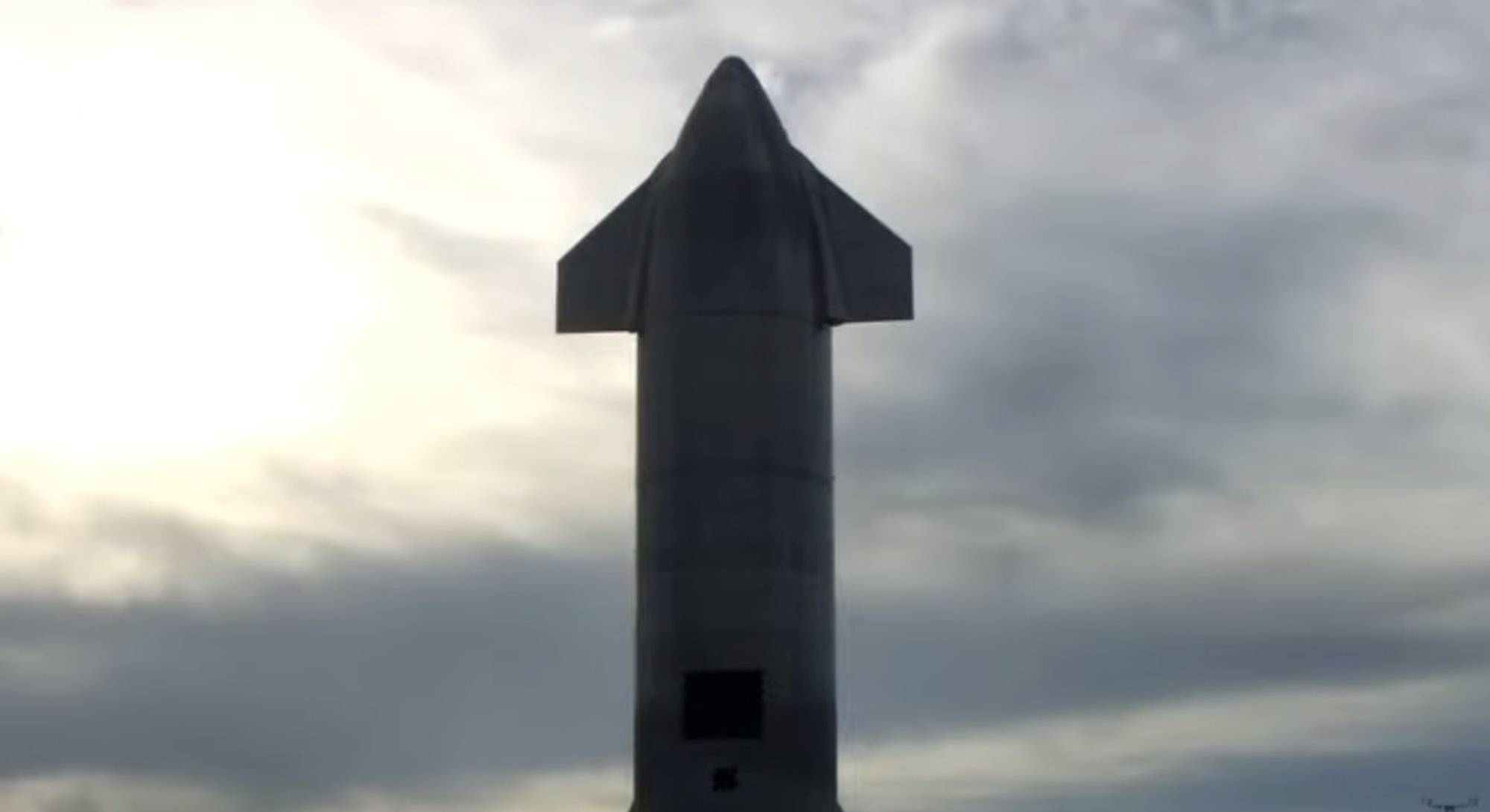 Screengrab of the SN10 prototype from SpaceX launch video