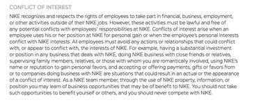 Nike sneaker reselling conflicts of interest, code of ethics.