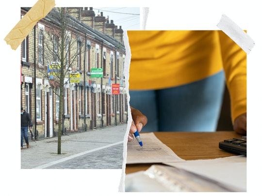 Composite image: on the left a row of houses with for sale and to let signs, on the right Close up of a woman using calculator, holding pen, writing make note with calculator