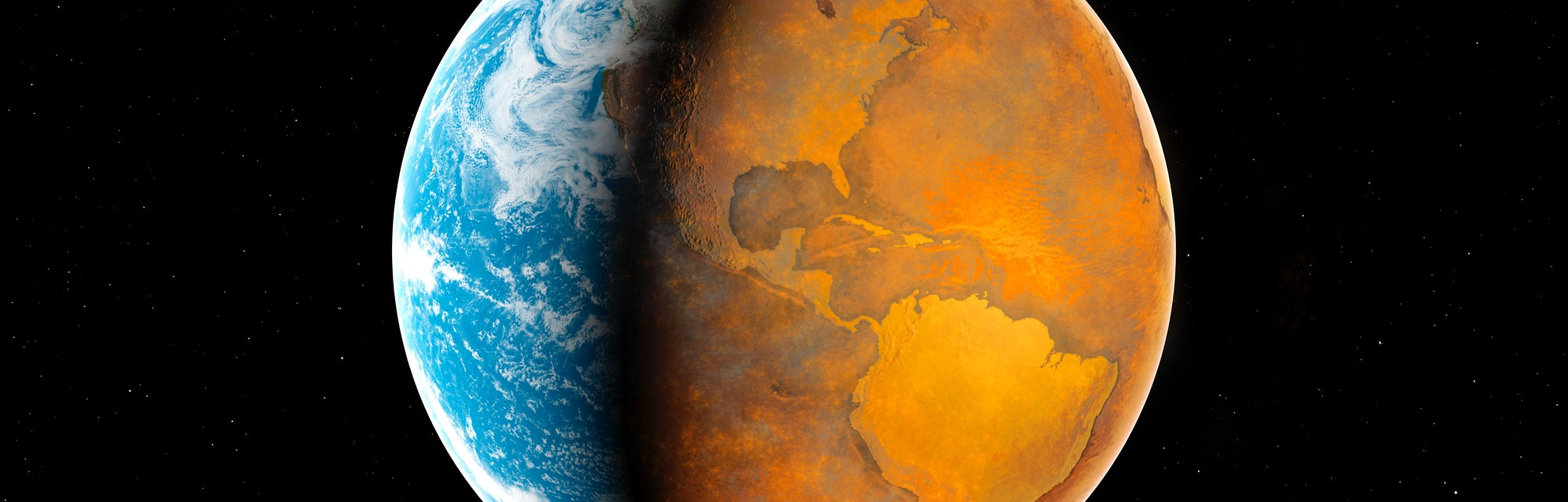 An illustration of Earth divided in half between oceans and an all barren eastern half of the Americ...