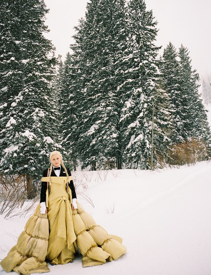 Lindsey Vonn wearing a yellow Thom Browne gown