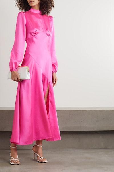 Clara Paneled Satin Dress