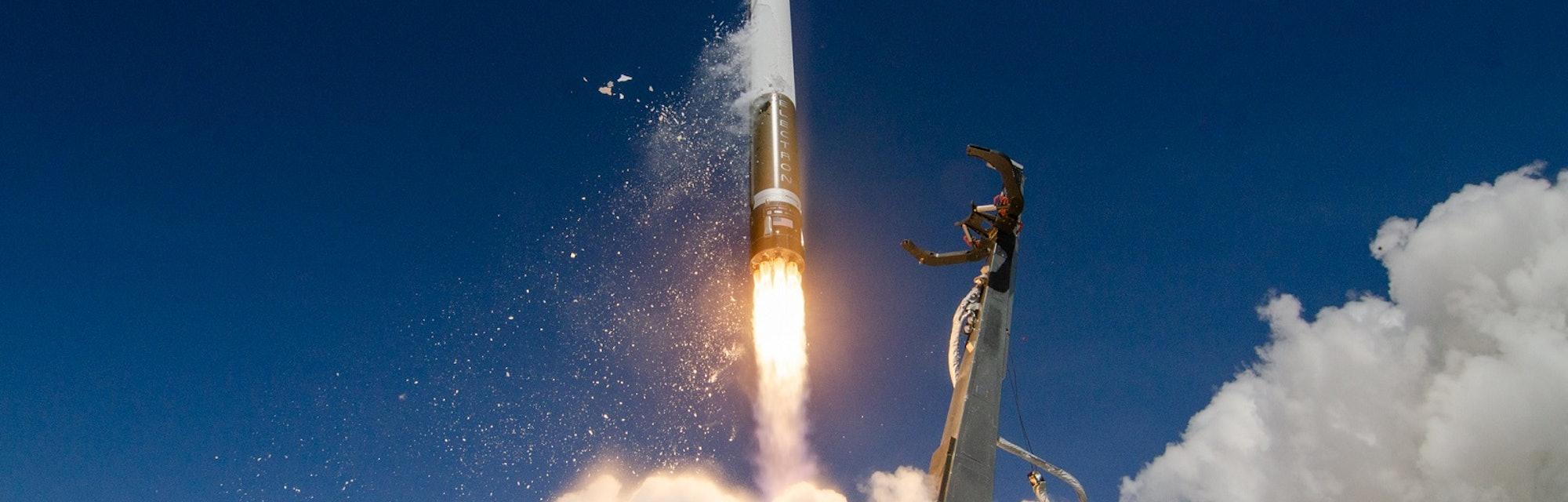 Rocket Lab's Electron rocket takes off.