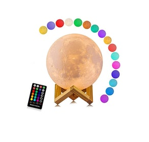 LOGROTATE 16 Colors LED 3D Print Moon Light with Stand