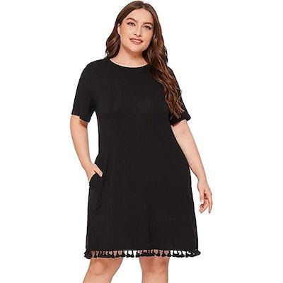 Romwe Tassel Hem Tunic Dress