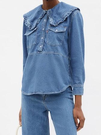 Ruffled-Collar Western Shirt