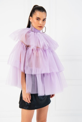 Open Back Ruffle Tulle Lilac Blouse