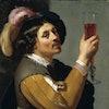 Jan Van Bijlert, Young man drinking a glass of wine painting
