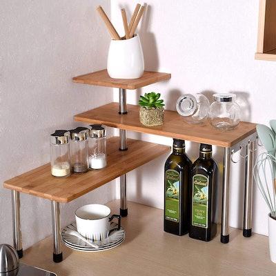 Ollieroo Bamboo Corner Shelf