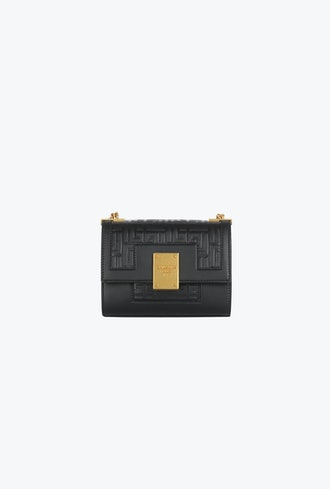 Small-Sized Embossed Black Leather 1945 Bag