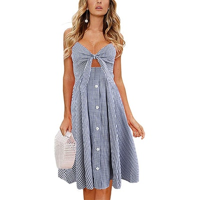 ECOWISH Tie Front Button Down Midi Dress
