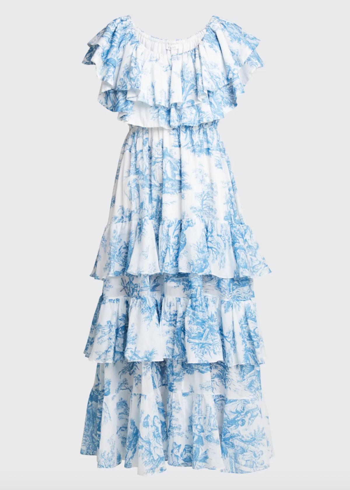 Ash Toile-Print Off-Shoulder Ruffle Dress