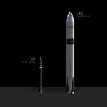 Rocket Lab's Electron (left) and Neuron rockets. The new Neutron rocket is designed to support large...