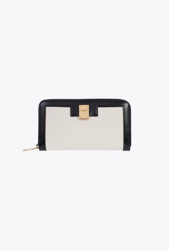 Black And White Leather 1945 Zipped Wallet