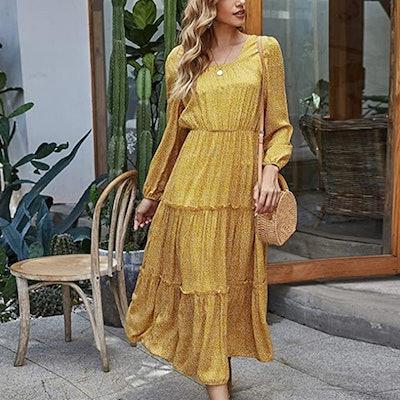 SweatyRocks Long Sleeve Floral Print Flared Dress