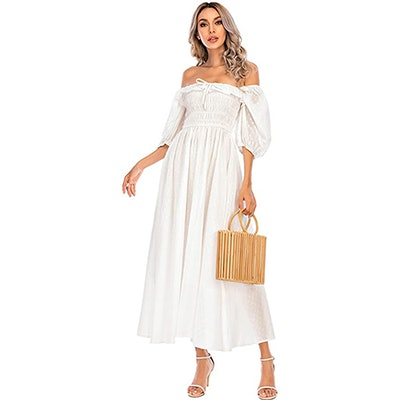 R.Vivimos Half Sleeve Ruffled Vintage Maxi Dress
