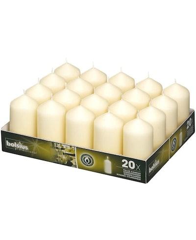 Bolsius Ivory Pillar Candles (20-Pack)