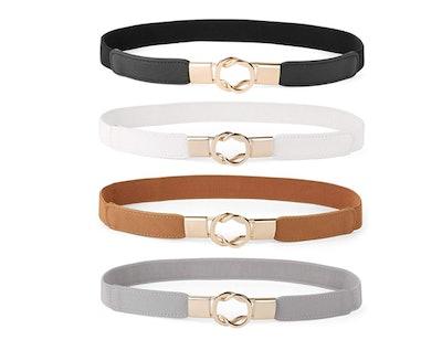 WEFOREU Skinny Belts (4-Pack)