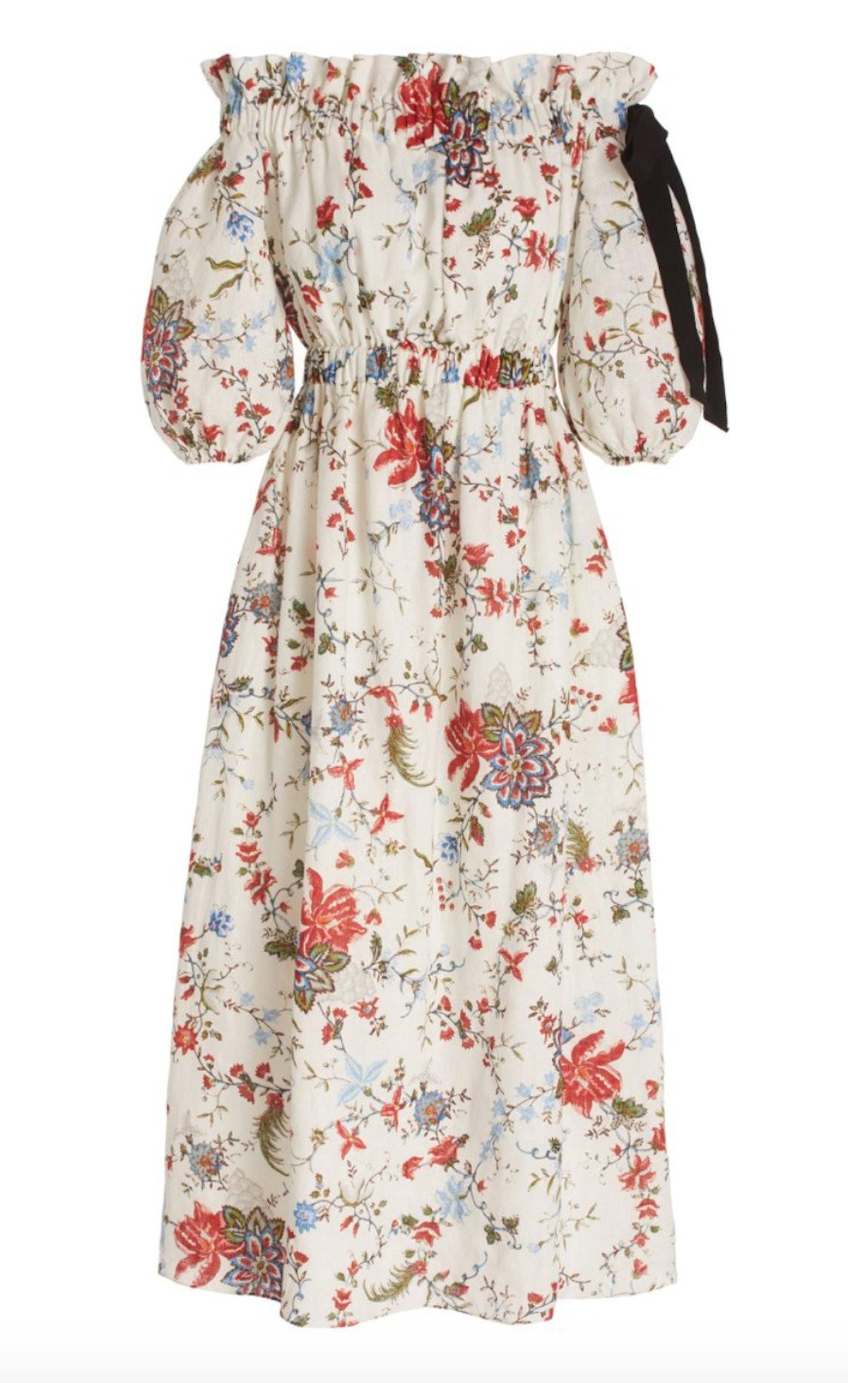 Augustus Floral Linen Off-The-Shoulder Midi Dress
