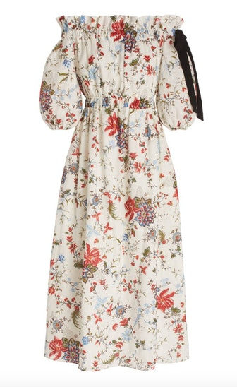 Augustus Floral Linen Off-The-Shoulder Midi Dress