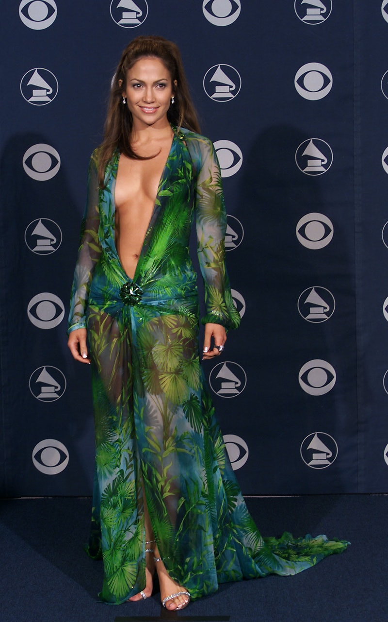 Jennifer Lopez in Versace at the 42nd Grammy Awards held in Los Angeles, CA on Febuary 23, 2000.