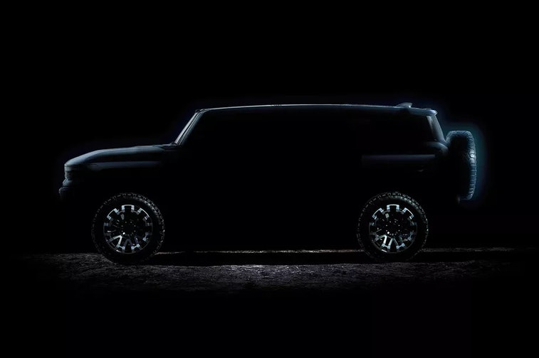 Silhouette of General Motors' new electric Hummer SUV, to be unveiled on April 3.