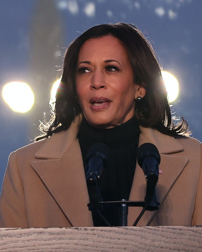 Vice President-elect Kamala Harris delivers brief remarks during a memorial service to honor the nearly 400,000 American victims of the coronavirus pandemic at the Reflecting Pool in front of the Lincoln Memorial January 19, 2021 in Washington, DC. As the nation's capital has become a fortress city of roadblocks, barricades and 20,000 National Guard troops due to heightened security around Harris' and President-elect Joe Biden's inauguration, 200 lights were lit to honor the nearly 400,000 Americans killed by COVID-19.