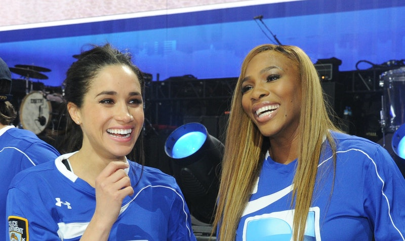 meghan markle and serena williams at the 2014 super bowl