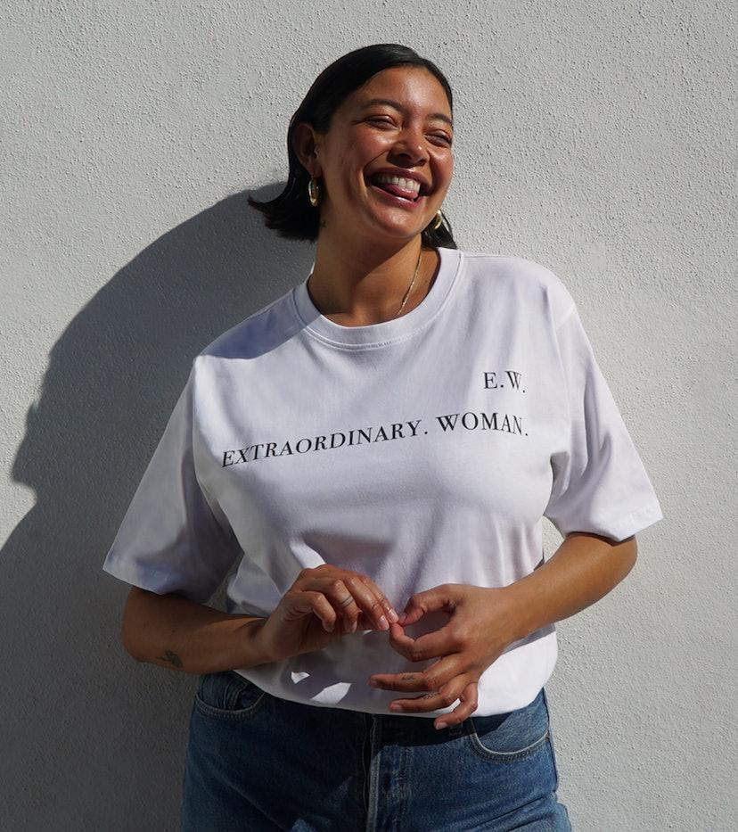 Model appears in a t-shirt for Net-a-Porter.