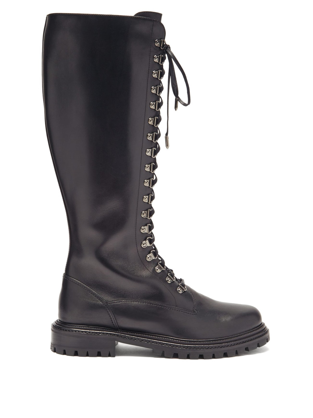 Combat Lace-Up Leather Knee-High Boots
