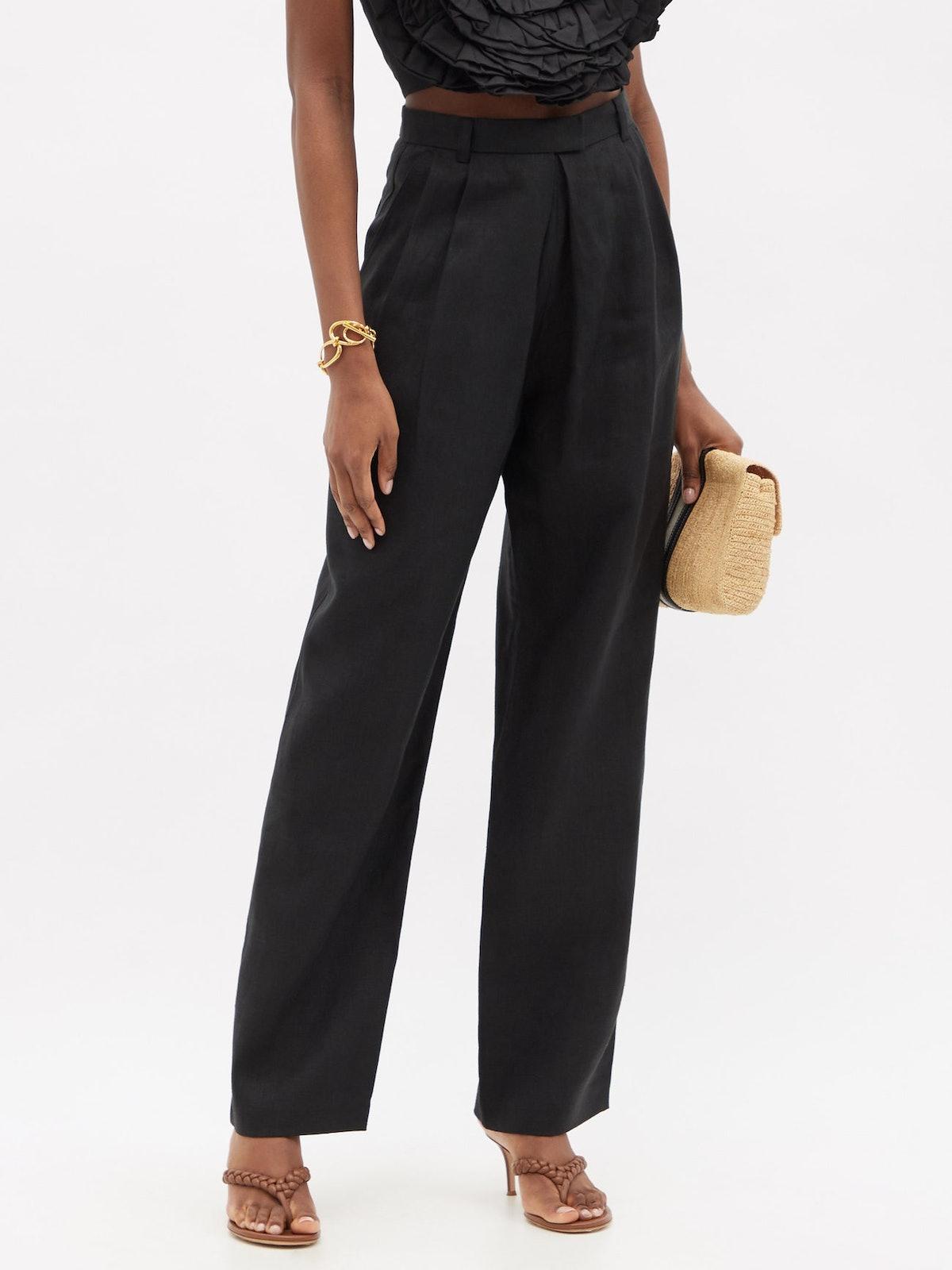 Eldora High-Rise Hemp-Twill Tailored Trousers