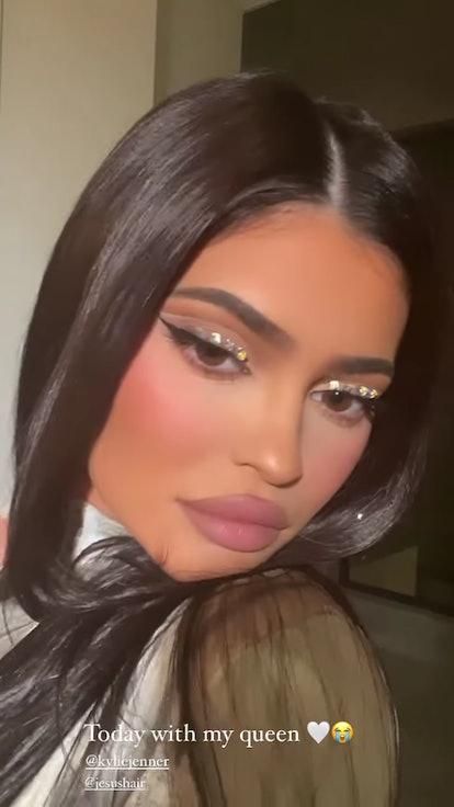 Kylie Jenner with rhinestone eyeliner