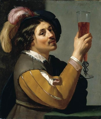 Jan van Bijlert painting of young man with wine