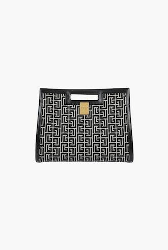 Medium Black And Ivory Leather 1945 Tote Bag