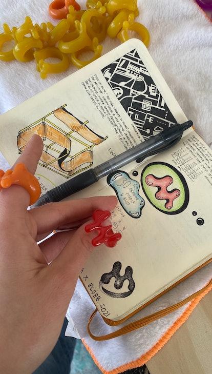 """Sofia Elias working on the Mowalola x Blobb """"Gummy"""" ring."""